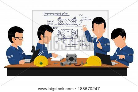 Four engineer are meeting about Machine improvement plan in the meeting room