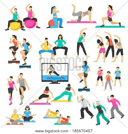 Set of people doing yoga, gymnastics, aerobics including pregnant women, seniors, instructor and group isolated vector illustration