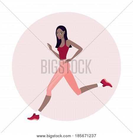 Young beautiful slim woman running wearing sport clothes Vector illustration