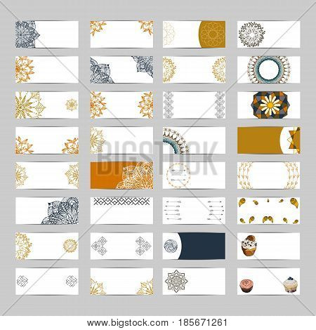 32 banner set with flower mandala yarn cupcakes for web and creative design. Isolated vector illustration
