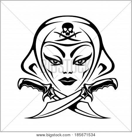 Amazon, girl warrior, pirate isolated on white