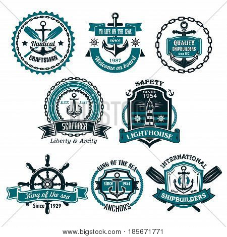 Nautical icons and symbols set. Vector isolated heraldic seafarer ship helm and anchor, lighthouse or life buoy with crossed paddles, captain or sailor navigator compass and voyager trident on chains