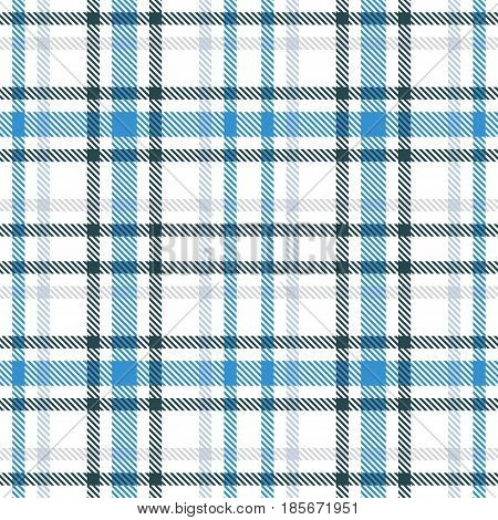 Blue And White Tartan Seamless Vector Pattern. Checkered Plaid Texture. Geometrical Simple Square Ba