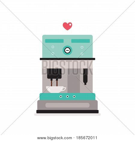 Coffee machine isolated on white background Kitchen appliance Vector illustration