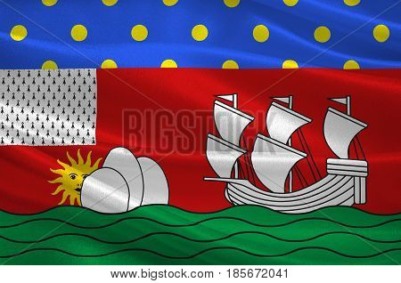 Flag of Lorient is a commune and a seaport in the Morbihan department in Brittany in north-western France. 3D illustration