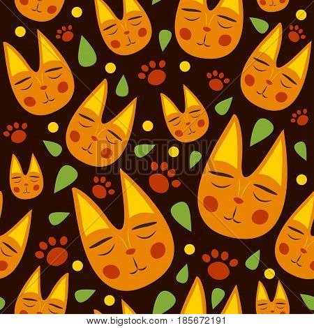Red Cats Seamless Pattern For Kids With Leaves And Dots On Brown Background. Cute Cats For Fabric, T