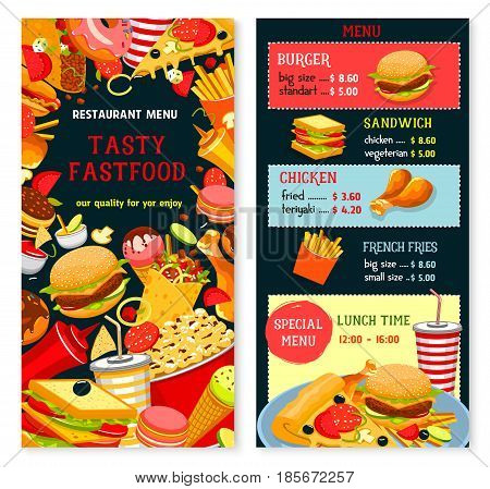 Fast food vector menu with lunch time combo offer. Fastfood snacks, drinks and meals of hamburgers french fries with cheeseburger or hot dog and pizza, soda drink and coffee or ice cream dessert