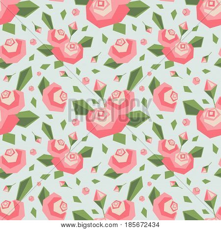 Vector Seamless Pattern With Angular Stylized Pink Flowers And Leaves. Soft Colors. Simple Cute Desi