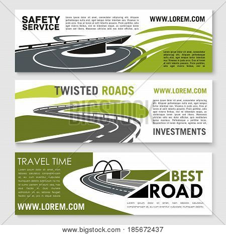 Road safety building or travel time vector banners set for construction or tourist company or investment corporation. Design of highway bridges, tunnels and transport drive lanes