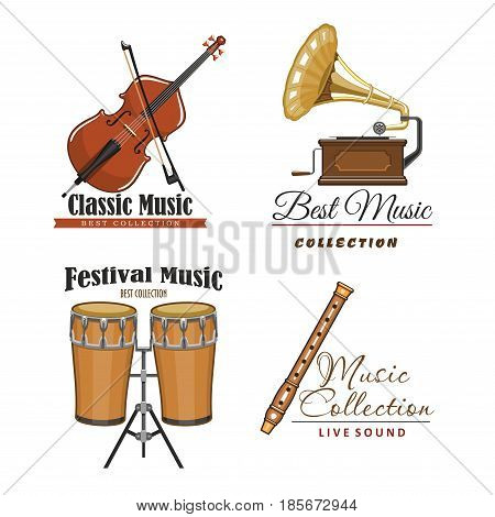 Live music festival vector icons set for musical sound fest or concert labels. Isolated symbols of classic musical instruments fiddle violin or contrabass, flute or pipe, drums and gramophone