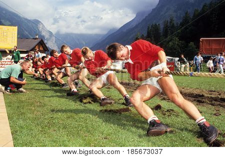 People During A Traditional Rope Pull Competition At Engelberg