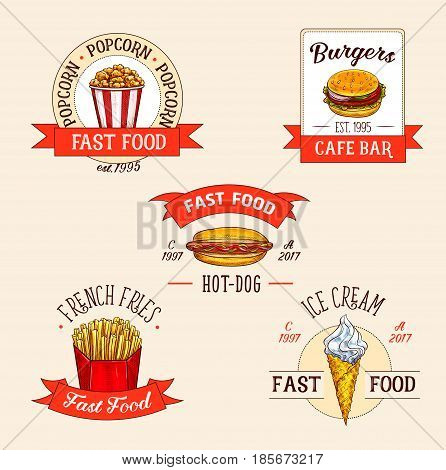Fast food restaurant vector icons set. Isolated symbols of popcorn bucket and burger or cheeseburger, hot dog and french fries, ice cream dessert for fastfood menu with label ribbons
