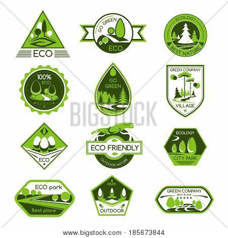 Eco nature and green environment vector icons for ecology and gardening company. Symbols set of forest trees, garden parks and parklands or woodlands for outdoor nature eco-friendly concept