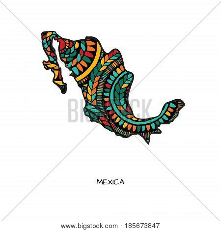 Map of Mexico in hand drawn style