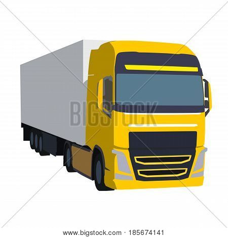 Big yellow truck pulling load vector illustration. Transportation theme. Isolated road car