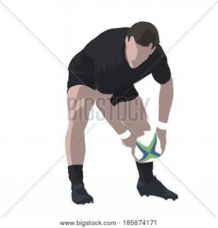 Rugby player passing ball abstract vector illustration