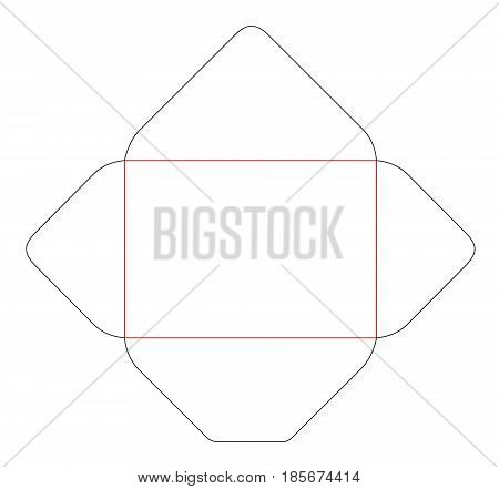 The Envelope C6 Size Die Cut Template. Stamp. Vector Black Isolated Circuit Envelope.
