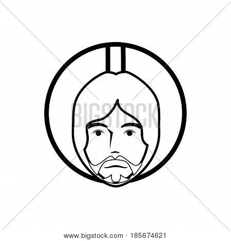 jesus christ with a halo icon over white background. vector illustration