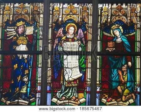 Stained Glass - Saint Louis Of France, Angel, Saint Elizabeth Of Hungary