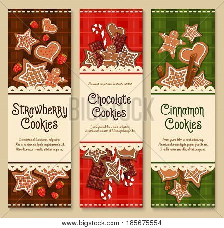 Cookies banners for bakery shop or patisserie cafe. Vector gingerbread biscuit stars and candy canes with bitter and milk chocolates. Design for pastry desserts and homemade ginger bread cakes
