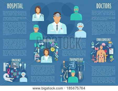 Medical personnel and hospital doctors of oncology, traumatology, endocrinology and infectology healthcare. Vector poster of health medicines and pills, spine, trauma and x-ray, wheelchair and foot