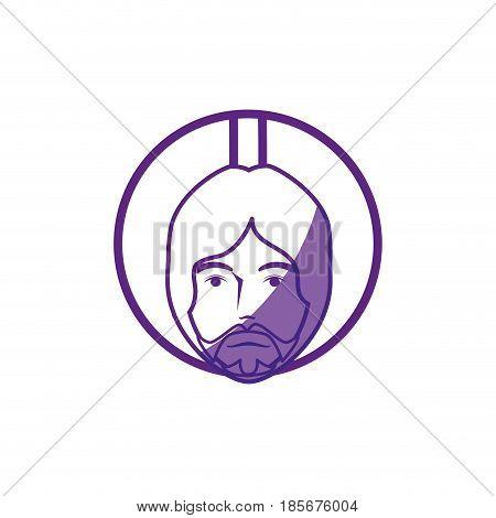 jesus christ face icon over white background. vector illustration