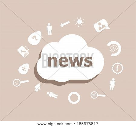 Text Breaking News. News Concept . Icons Set For Cloud Computing For Web And App