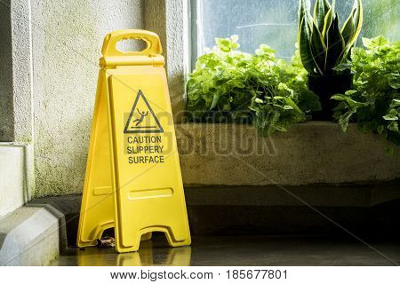 Warning sign for wet floor, close up