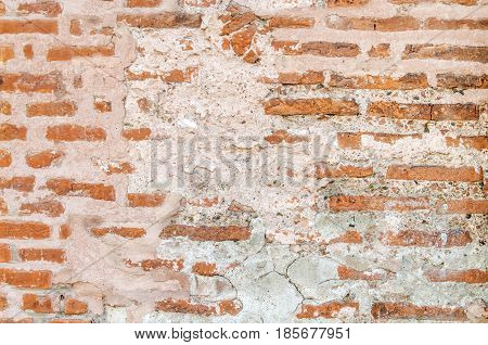 Big old vintage brick wall background red bricks