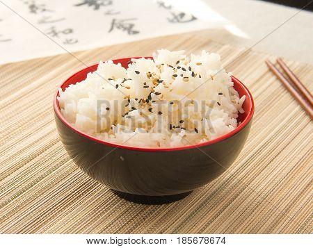 Arroz blanco al estilo japonés. Japanese style white rice.