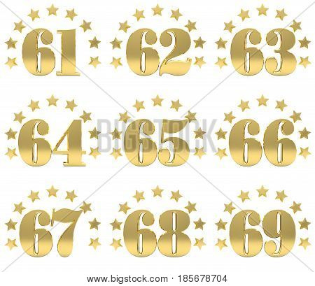 Set of golden digit from sixty one to sixty nine decorated with a circle of stars. 3D illustration