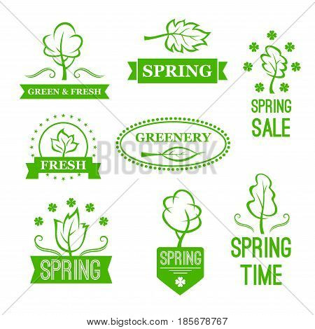 Spring Sale vector tags or discount promo offer design elements for shopping labels or icons set. Springtime flowers and blooming nature with tree and leaf symbols, isolated green ribbons and stars