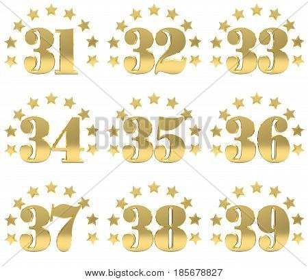 Set of golden digit from thirty one to thirty nine decorated with a circle of stars. 3D illustration