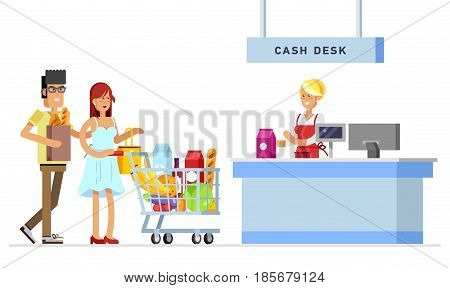 Concept illustration for shop. Vector character woman cashier in supermarket. Family shopping in supermarket. Vector cash register and buyer