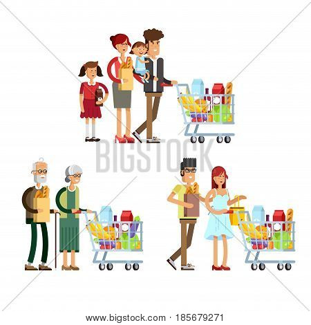 Flat illustration for shop, supermarket. Set of happy family different ages with supermarket basket full of meal. People make purchases.
