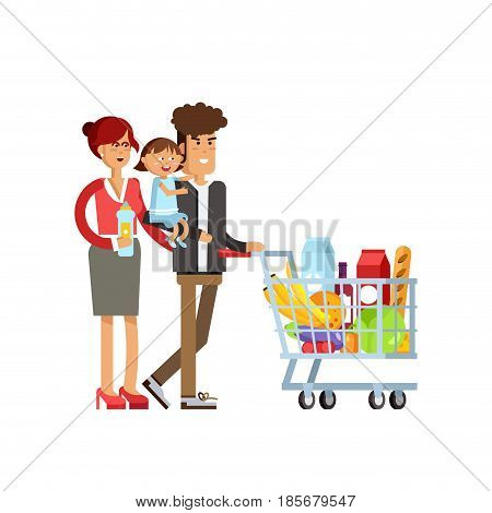 Flat illustration for shop, supermarket. Happy family with supermarket basket full of meal. Young couple with their children in supermarket make purchases.