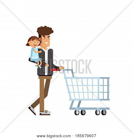 Flat illustration for shop, supermarket. Happy man and with empty supermarket basket. Young father with small daughter make purchases.
