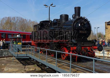 BERLIN - APRIL 21: Steam locomotive Borsig 9525 Spring Festival the exhibition in the Rail yard Schoeneweide April 21 2013 in Berlin