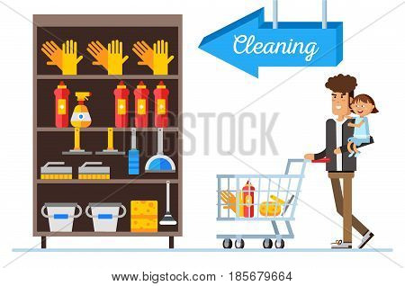 Flat illustration for shop, supermarket. Happy man and with supermarket basket full of meal. Young father with small daughter make purchases.