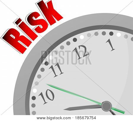 Text Risk. Finance Concept . Color Word And Modern Clock On White