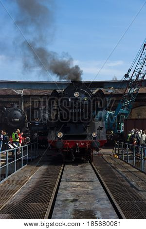 BERLIN - APRIL 21: Steam locomotive Borsig 03 2155-4 (DRG Class 03) the Spring Festival the exhibition in the Rail yard Schoeneweide April 21 2013 in Berlin Germany