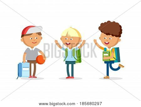 Pupils with school backpacks. Flat illustration group of boys. Happy kids ready come back to school.