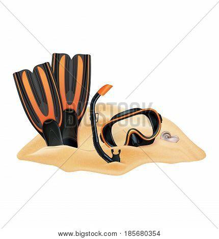Beach composition. Sand dive mask snorkel flippers. Vector illustration. Vector illustration
