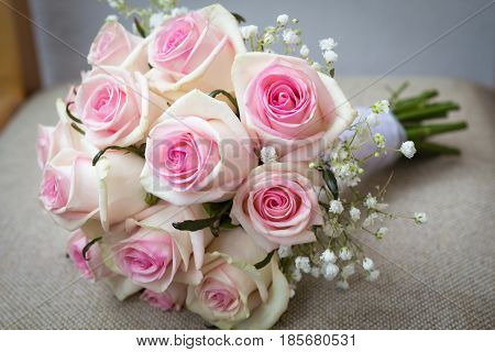 Wedding bouquet of roses. Close-up of a wedding bouquet.