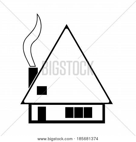 house sketch vector with smoke from chimney