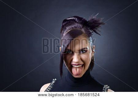 Beautiful Woman Punk On Black Background.