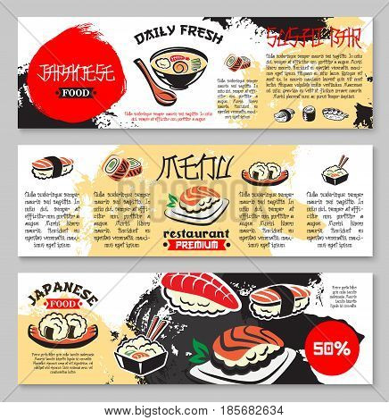 Japanese seafood restaurant or sushi bar menu banners. Vector design of fish sushi and rolls, noodles with tofu and seaweed, oriental spicy miso soup, steamed rice with salmon or tuna and chopsticks