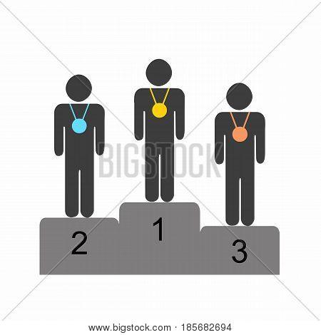 winner athletes standing on the podium vector