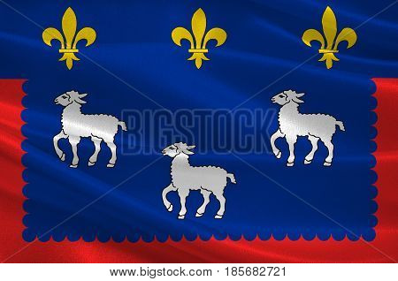 Flag of Bourges is the capital of the department of Cher in central France. 3D illustration