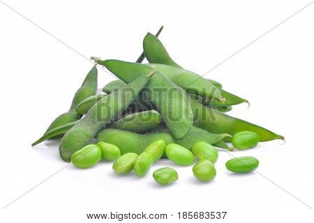 edamame beans isolated on the white background